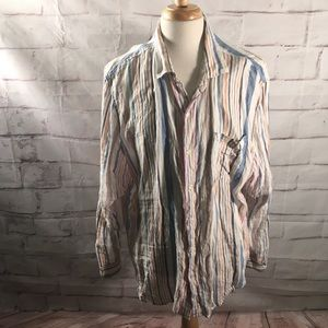 Tommy Bahama 100% Linen Striped Button Down Shirt